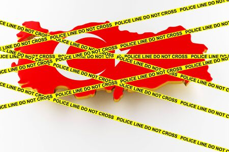 Turkey crime concept, police investigation. 3D map of Turkey. Map of Turkey land border with flag. 3d rendering