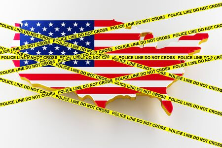 USA crime concept, police investigation. 3D map of USA. Map of USA land border with flag. 3d rendering