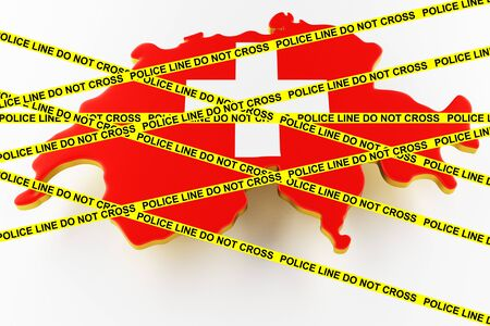 Switzerland crime concept, police investigation. 3D map of Switzerland. Map of Switzerland land border with flag. 3d rendering