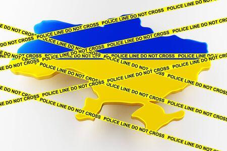 Ukraine crime concept, police investigation. 3D map of Ukraine. Map of Ukraine land border with flag. 3d rendering Stock Photo
