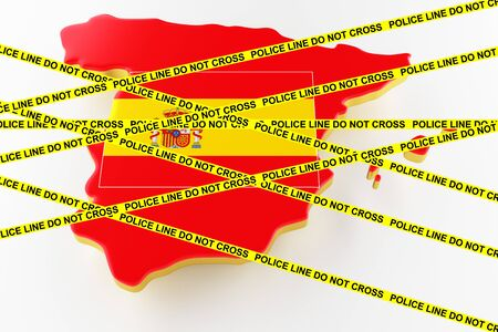 Spain crime concept, police investigation. 3D map of Spain. Map of Spain land border with flag. 3d rendering