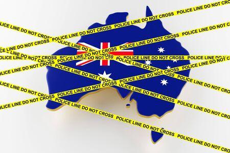 Australia crime concept, police investigation. 3D map of Australia. Map of Australia land border with flag. 3d rendering