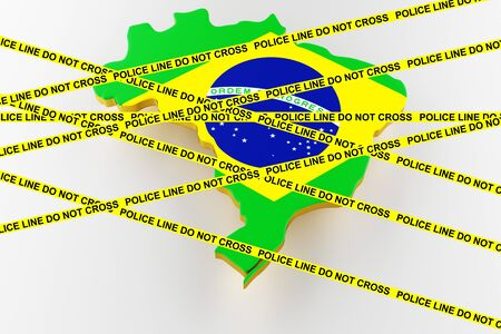 Brazil crime concept, police investigation. 3D map of Brazil. Map of Brazil land border with flag. 3d rendering Stock Photo