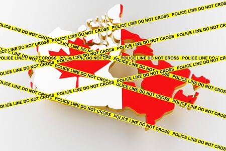 Canada crime concept, police investigation. 3D map of Canada. Map of Canada land border with flag. 3d rendering