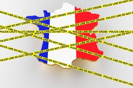 France crime concept, police investigation. 3D map of France. Map of France land border with flag. 3d rendering
