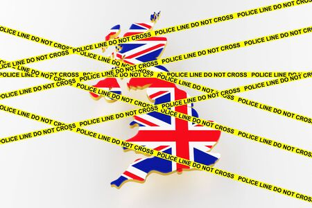 Great Britain crime concept, police investigation. 3D map of Great Britain. Map of Great Britain land border with flag. 3d rendering Stock Photo