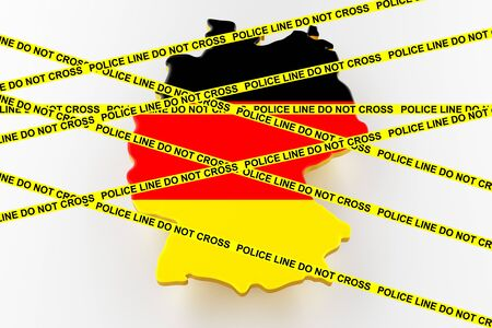 Germany crime concept, police investigation. 3D map of Germany. Map of Germany land border with flag. 3d rendering Stock Photo
