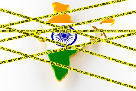 India crime concept, police investigation. 3D map of India. Map of India land border with flag. 3d rendering