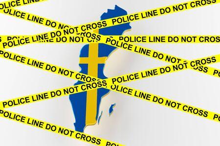 Sweden crime concept, police investigation. 3D map of Sweden. Map of Sweden land border with flag. 3d rendering