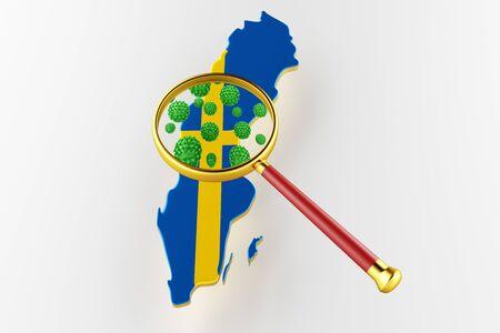 Virus 2019-ncov, Flur or Coronavirus with Sweden map. Coronavirus 3D rendering