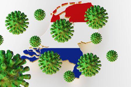 Virus 2019-ncov, Flur or Coronavirus with Netherlands map. Coronavirus  3D rendering