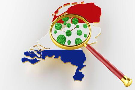 Virus 2019-ncov, Flur or Coronavirus with Netherlands map. Coronavirus 3D rendering Stock Photo