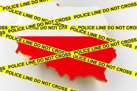 Poland crime concept, police investigation. 3D map of Poland. Map of Poland land border with flag. 3d rendering Stock Photo
