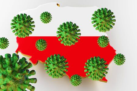 Virus 2019-ncov, Flur or Coronavirus with Poland map. Coronavirus  3D rendering