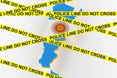 Argentina crime concept, police investigation. 3D map of Argentina. Map of Argentina land border with flag. 3d rendering