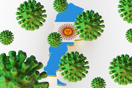 Virus 2019-ncov, Flur or Coronavirus with Argentina map. Coronavirus  3D rendering