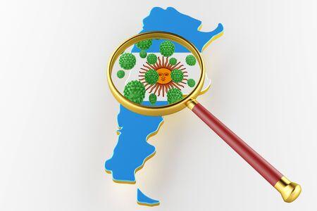 Virus 2019-ncov, Flur or Coronavirus with Argentina map. Coronavirus 3D rendering Stock Photo