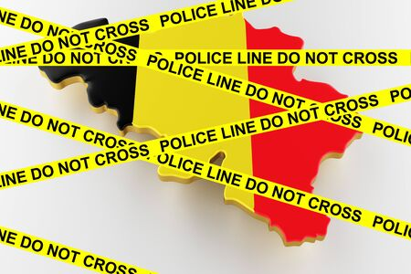 Belgium crime concept, police investigation. 3D map of Belgium. Map of Belgium land border with flag. 3d rendering Stock Photo