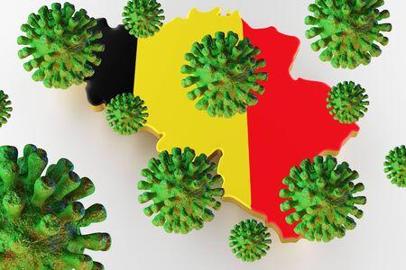 Virus 2019-ncov, Flur or Coronavirus with Belgium map. Coronavirus 3D rendering