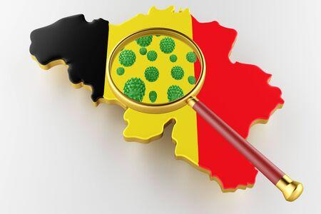 Virus 2019-ncov, Flur or Coronavirus with Belgium map. Coronavirus  3D rendering Stock Photo