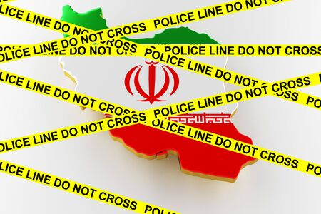 Iran crime concept, police investigation. 3D map of Iran. Map of Iran land border with flag. 3d rendering