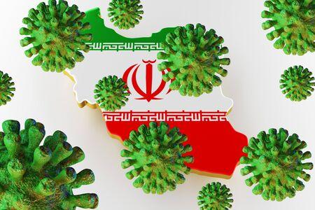 Virus 2019-ncov, Flur or Coronavirus with Iran map. Coronavirus  3D rendering
