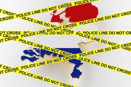 Netherlands crime concept, police investigation. 3D map of Netherlands. Map of Netherlands land border with flag. 3d rendering