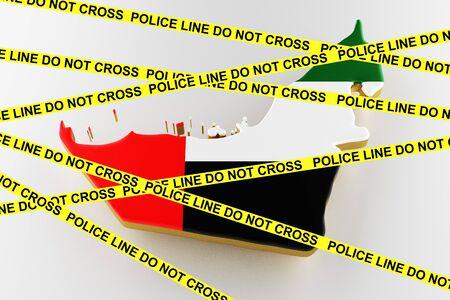 UAE crime concept, police investigation. 3D map of UAE. Map of UAE border with flag. 3d rendering