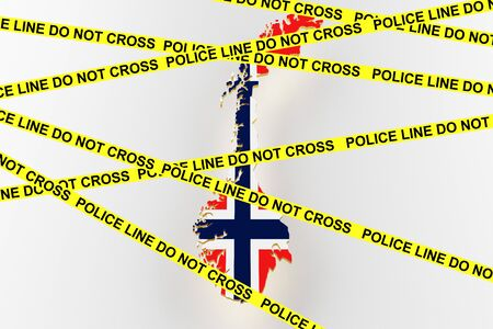 Norway crime concept, police investigation. 3D map of Norway. Map of Norway border with flag. 3d rendering