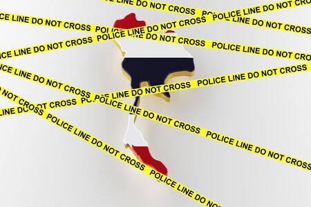 Thailand crime concept, police investigation. 3D map of Thailand. Map of Thailand border with flag. 3d rendering