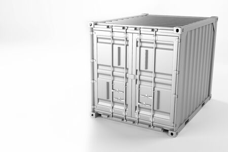 A high quality image of a white 10ft shipping container on a white background. Ten foot sea shipping container 3d render