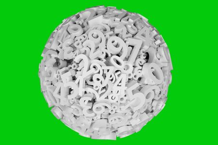 Ball with numbers. Math, finance and business concept. Numbers from zero to nine on Green screen or chromakey. 3d render