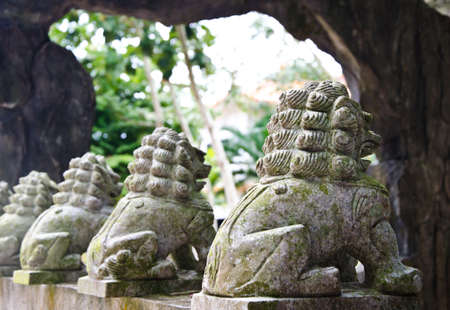 eyes cave: Chinese lion statues