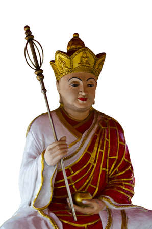 high priest: Chinese Buddha statues on white Stock Photo