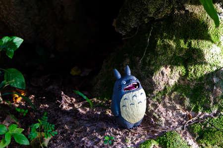 supervillian: goodmorning Funny Totoro figures in the garden Editorial