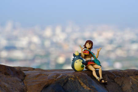 supervillian: goodmorning Funny Totoro and girl figures Editorial