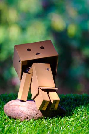 supervillian: Robot box sitting on a rock