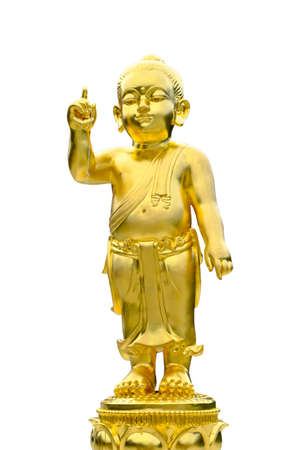 pinchbeck: Closeup old brass baby buddha statue isolated on black background Stock Photo