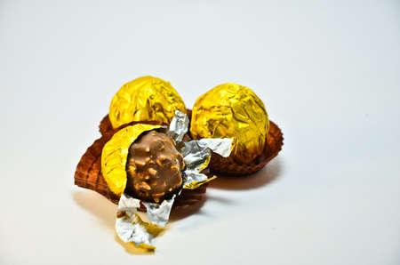 pealing: close up chocolate on white background Stock Photo