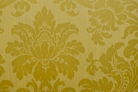 Gold floral patterns adorn the wallpaper pattern (flower, border, baroque) Stock Photo