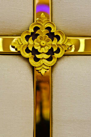 christian crosses: Gold Christian crosses carved on a beautiful background. Stock Photo