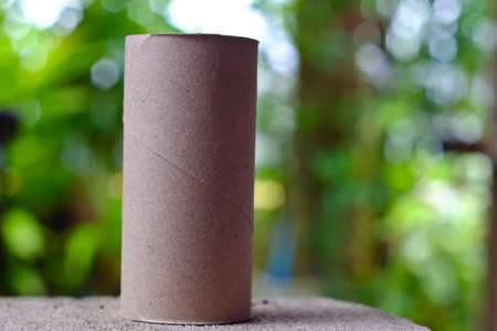 empty tissue paper roll on nature background