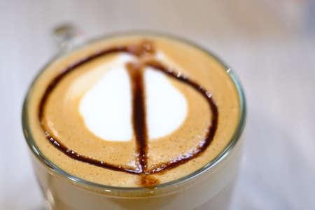 decaf: Coffee Hot mocha latte on wood table