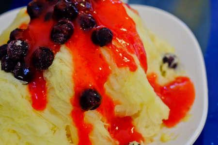 Korean Mango Bingsu on cafe table