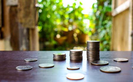 Saving money concept preset money coin stack growing business