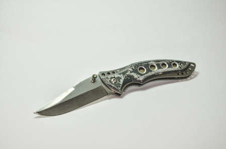 butterfly knife: Old Penknife on a white background. (clipping path)