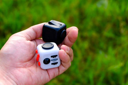 stress ball: Fidget Cube stress reliever, fingers toy, black. (relax)