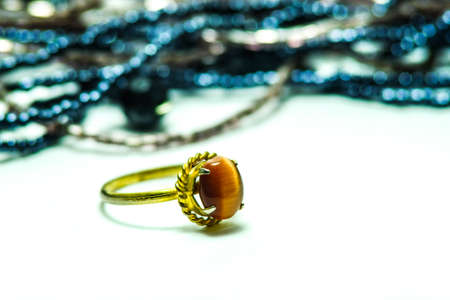 Gold ring with jewels a cute jewelry from nature (Gemstone) Stock Photo