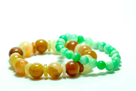 brown, green gemstone bracelet a cute jewelry from nature (jade)