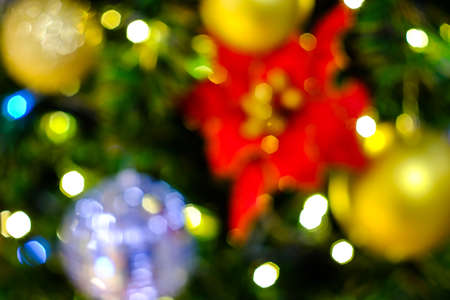 Blurred fir tree. Background with copy space.Blurred photo of Christmas lights